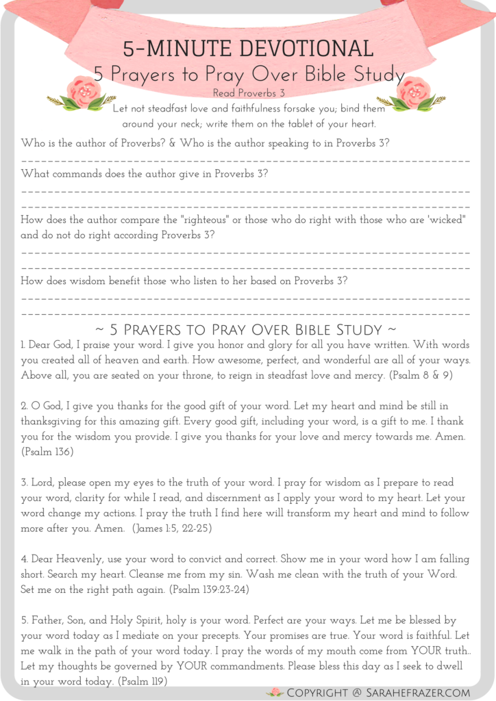 5 Minute Devotional for Women 5 Prayers to Pray Over Bible Study-2