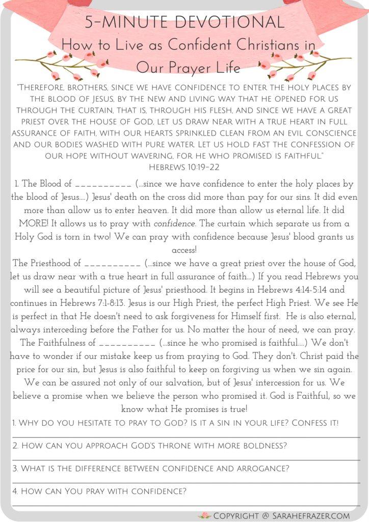 5 Minute Devotional for Women on Confident Prayer
