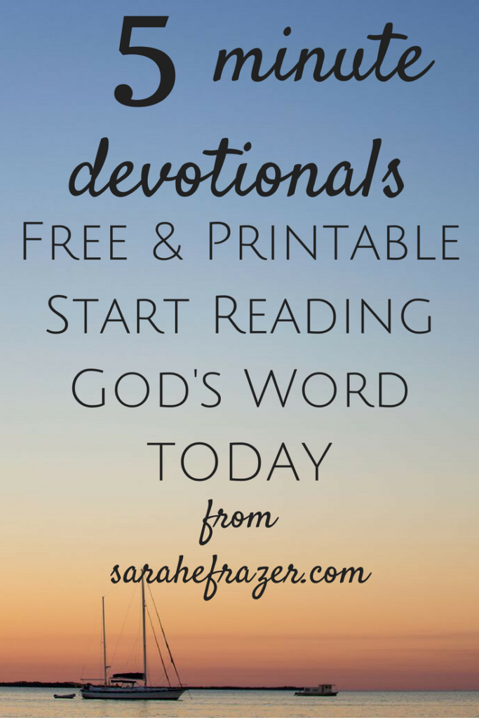 5 Minute Devotionals for Women. Help get you started reading God's Word today