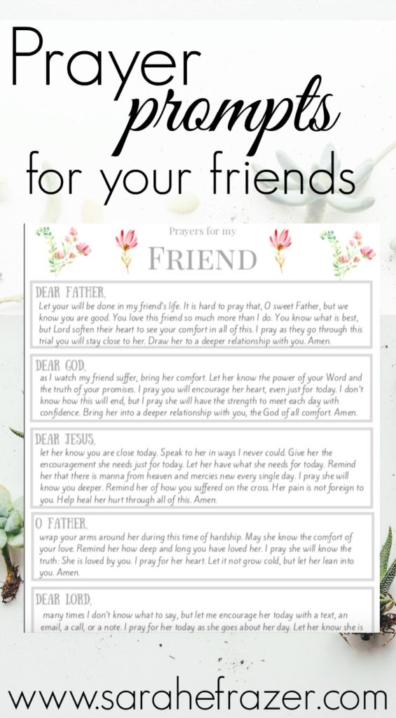 graphic regarding I Said a Prayer for You Today Printable titled Printable Prayers for Your Close friend - Sarah E. Frazer
