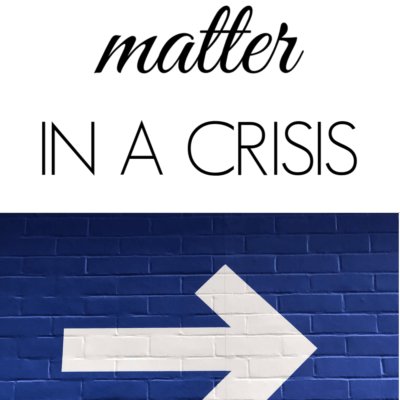 Small Steps Matter in a Crisis